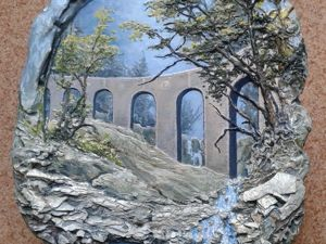 Учимся делать барельеф: пейзаж с акведуком. Ярмарка Мастеров - ручная работа, handmade.
