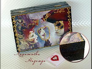 """Цветной кракелюр на декупажных работах на примере шкатулки """"Загадочная Венеция"""""""". Ярмарка Мастеров - ручная работа, handmade."""