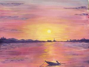 Как нарисовать закат на море гуашью. Ярмарка Мастеров - ручная работа, handmade.