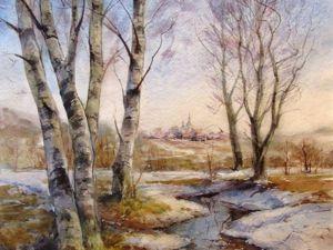 Как нарисовать акварелью весенний пейзаж «Журчат ручьи». Ярмарка Мастеров - ручная работа, handmade.