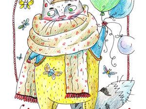 Деньрожденьевская открытка с котом. Ярмарка Мастеров - ручная работа, handmade.