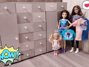 Как сделать шкаф для кукол из картона своими руками. Ярмарка Мастеров - ручная работа, handmade.