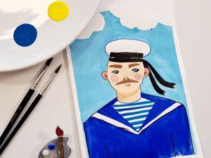 Рисуем открытку на 23-е февраля. Мастер-класс «Моряк». Ярмарка Мастеров - ручная работа, handmade.