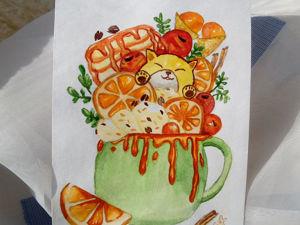 Готовая работа: Открытка акварелью  «Парфе Neko». Ярмарка Мастеров - ручная работа, handmade.