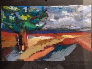 Рисуем сухой пастелью на наждачной бумаге «Дерево». Ярмарка Мастеров - ручная работа, handmade.