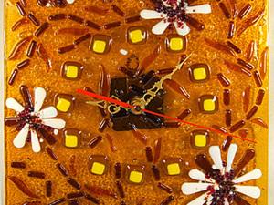 Изготовление настенных часов «Янтарная фантазия» методом фьюзинга.. Ярмарка Мастеров - ручная работа, handmade.