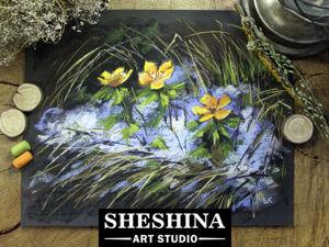 Видеоурок: рисуем первоцветы сухой пастелью. Ярмарка Мастеров - ручная работа, handmade.
