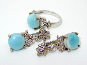 Серьги и кольцо с ларимаром серебряные. Ярмарка Мастеров - ручная работа, handmade.