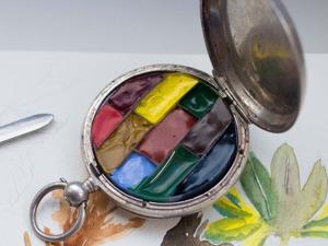 Маленькая акварельная коробка из корпуса карманных часов. Ярмарка Мастеров - ручная работа, handmade.