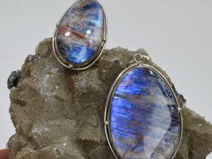 Лунный камень беломорит кулон и кольцо  «Сияние над морем». Ярмарка Мастеров - ручная работа, handmade.