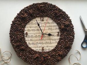 Делаем часы своими руками из картона и кофейных зерен. Ярмарка Мастеров - ручная работа, handmade.