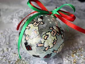 """Создаем новогодний шар """"Танцующие овечки"""". Ярмарка Мастеров - ручная работа, handmade."""