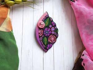 Лепим из полимерной глины брошь с цветочным рисунком. Ярмарка Мастеров - ручная работа, handmade.