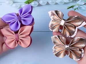 Делаем бантики бабочки на заколку из экокожи или фоамирана. Ярмарка Мастеров - ручная работа, handmade.