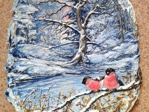 Делаем барельеф «Снегири». Ярмарка Мастеров - ручная работа, handmade.