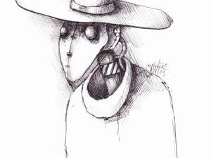 День 216. Набросок ручкой  «Чумной в шляпе». Ярмарка Мастеров - ручная работа, handmade.