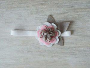 Изготавливаем повязку для малышки с цветком из фетра. Ярмарка Мастеров - ручная работа, handmade.