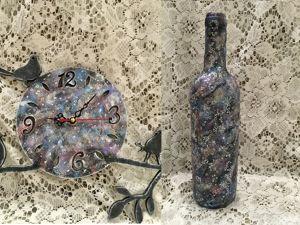 Космический декор бутылки и часов. Ярмарка Мастеров - ручная работа, handmade.