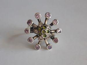 Серебряное кольцо  «Цветок папоротника». Ярмарка Мастеров - ручная работа, handmade.