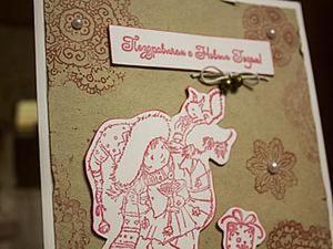 Делаем простую новогоднюю открытку из крафт-бумаги. Ярмарка Мастеров - ручная работа, handmade.