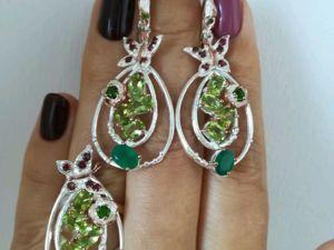 Видео серег и кольца с зеленым ониксом, перидотом. Серебро 925 пробы. Ярмарка Мастеров - ручная работа, handmade.