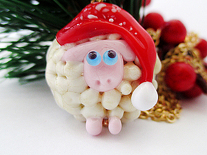 """Мастер-класс по созданию бусины лэмпворк """"Новогодняя овечка"""". Ярмарка Мастеров - ручная работа, handmade."""