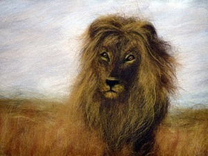 Рисуем шерстью картину «Царь зверей». Ярмарка Мастеров - ручная работа, handmade.