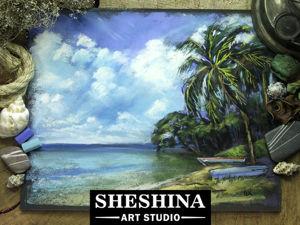 Рисуем сухой пастелью тропический пейзаж с пальмами. Ярмарка Мастеров - ручная работа, handmade.