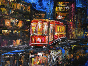 Обзор картины Ночной трамвай. Ярмарка Мастеров - ручная работа, handmade.