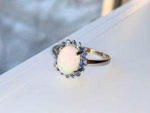Серебряное кольцо с опалом, размер 17,5. Ярмарка Мастеров - ручная работа, handmade.