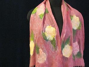 Видеоурок: валяние легкого шарфа с кистями на шелке. Ярмарка Мастеров - ручная работа, handmade.