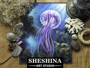 Рисуем медузу сухой пастелью: видеоурок. Ярмарка Мастеров - ручная работа, handmade.