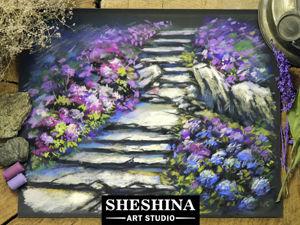 Рисуем сухой пастелью каменную дорожку с цветами. Ярмарка Мастеров - ручная работа, handmade.