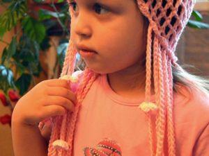 Вяжем летнюю детскую шапочку с косичками. Ярмарка Мастеров - ручная работа, handmade.
