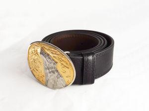 Кожаный мужской ремень с пряжкой  «Волк»  №2. Златоуст z10507. Ярмарка Мастеров - ручная работа, handmade.