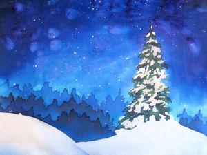 Рисуем зимний ночной пейзаж на шелке в горячем батике. Ярмарка Мастеров - ручная работа, handmade.