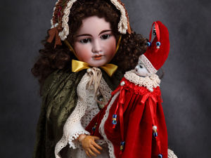 Куклы-marotte на основе антикварных головок Merry Christmas. Ярмарка Мастеров - ручная работа, handmade.