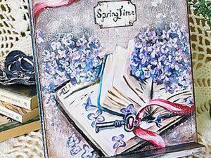 """Декорируем подставку для книг """"Время весны"""". Ярмарка Мастеров - ручная работа, handmade."""