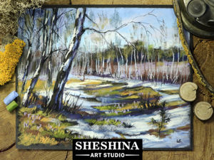 Drawing Spring Landscape with Dry Pastel. Livemaster - hecho a mano - handmade.