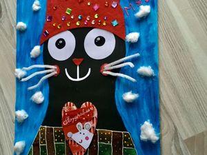 Рисуем гуашью кота и мастерим интересное панно из картона. Ярмарка Мастеров - ручная работа, handmade.