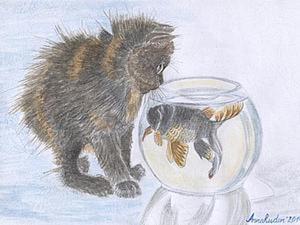 """Рисуем картину """"Забавный котенок. Знакомство с рыбкой"""". Ярмарка Мастеров - ручная работа, handmade."""