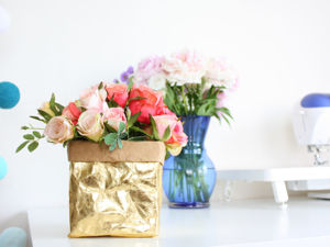 Шьем золотую корзину из швейного крафта. Ярмарка Мастеров - ручная работа, handmade.