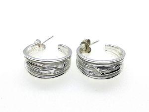 Серебряные серьги-кольца с эмалью. Ярмарка Мастеров - ручная работа, handmade.