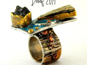 Кольцо  «Мерцающий Малевич»  в серебре с мельхиором. Ярмарка Мастеров - ручная работа, handmade.