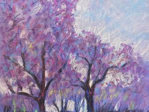Рисуем сухой пастелью пейзаж: дерево жакаранда. Ярмарка Мастеров - ручная работа, handmade.