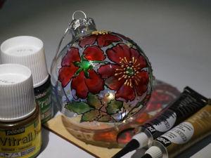 Видеоурок: роспись витражными красками «Цветы Шиповника» на елочном шаре. Ярмарка Мастеров - ручная работа, handmade.