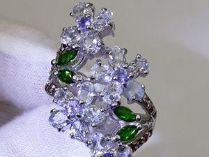 Серебряное Кольцо с Аквамаринами  « Нежные Цветы» . Ярмарка Мастеров - ручная работа, handmade.