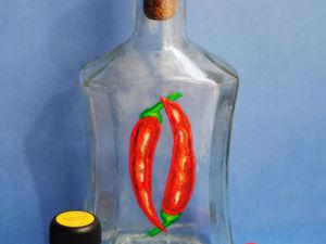 Расписываем бутылку акриловыми красками: жгучие перчики. Ярмарка Мастеров - ручная работа, handmade.