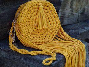 Вязаная сумка «Осеннее солнце» из трикотажной пряжи. Ярмарка Мастеров - ручная работа, handmade.