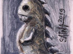 День 318. Миниатюра маслом  «Чумазый дракон» . 19-я работа из серии 50 дней масла. Ярмарка Мастеров - ручная работа, handmade.